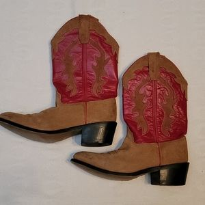 Old West western boots 100% leather red brown 7